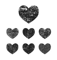 Grunge heart collection vector