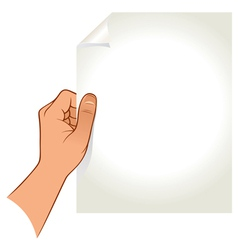 Hand holding paper vector