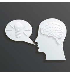 Paper headmind brain in head silhouette generate vector