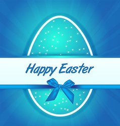 Easter blue egg gift card vector