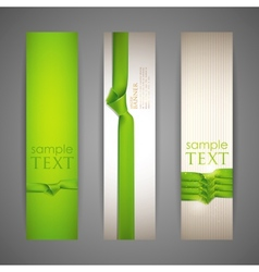 Set of banners with green ribbons vector