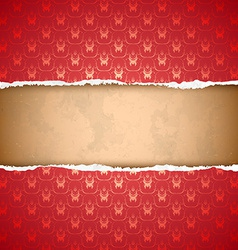 Torn red ornamental wallpaper vector