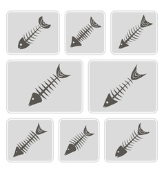 Monochrome icons with fish skeletons vector