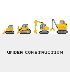 Under construction vehicles set in pixel vector image