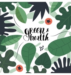 Green and health lettering vector