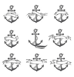 anchor symbol set vector image vector image