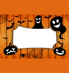 border template with jack-o-lantern and spider web vector image