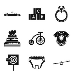 born with silver spoon icons set simple style vector image