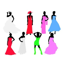 bride and bridesmaids vs vector image vector image