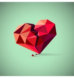 Broken heart consisting of triangles with pieces vector