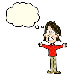 Cartoon frightened man with thought bubble vector