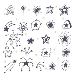 Collection of hand drawn stars Doodle stars vector image