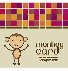 Cute monkey card vector
