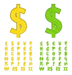 Doodle currency symbols of the world vector