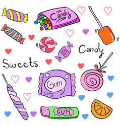 Doodle of candy various cartoon style vector