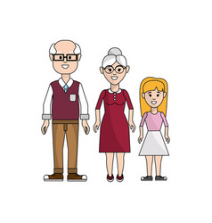 grandparents with their granddaughter icon vector image vector image
