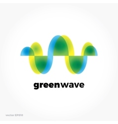 Green sound wave ecological symbol logo colorful vector