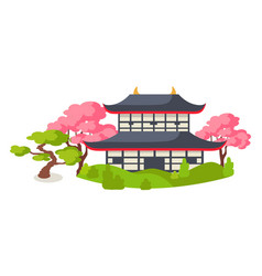 japanese pagoda in cherry blossom flat vector image