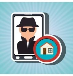 Man smartphone detective secure vector