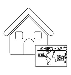 Monochrome contour house with frame map of the vector
