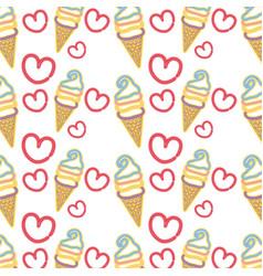 Neon sweet ice cream in the cornet with heart vector