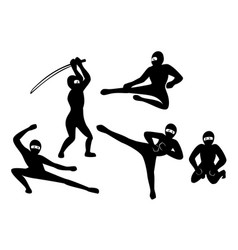 Set of black silhouette ninjas on white background vector