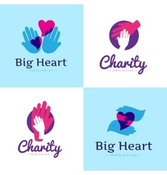 Set of clean charity center logos hospital vector