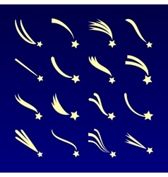 Shooting star comet silhouettes icons vector