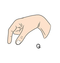 Sign language and the alphabetThe Letter q vector image vector image