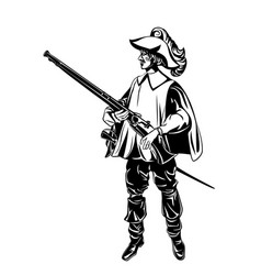 Silhouette of an armed musketeer vector