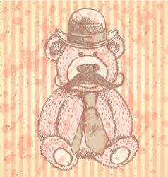 Teddy Hat Mustache Tie vector image vector image