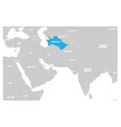 turkmenistan blue marked in political map of south vector image vector image