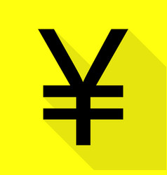 Yen sign black icon with flat style shadow path vector