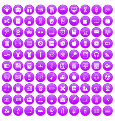 100 learning kids icons set purple vector image vector image