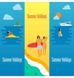 Summer holidays banner with young couple on beach vector