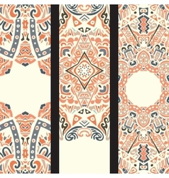 Beautiful ethinic ornamental banner set vector