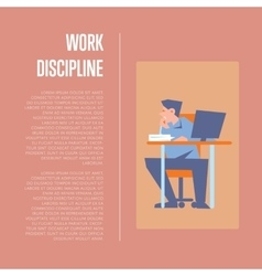 Work discipline banner with employee vector
