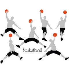 Man in basketball pose on white background vector