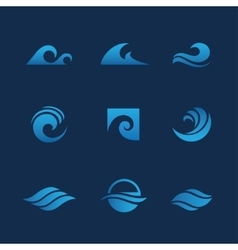 Blue waves set vector
