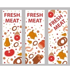 Meat banner set flat style board flyer vector