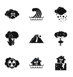 Natural cataclysm icons set simple style vector