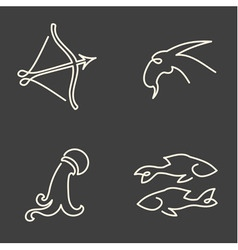 One line zodiac symbols set vector