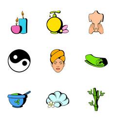 Spa icons set cartoon style vector