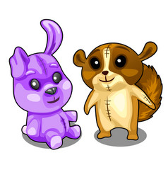 Baby soft toys purple hare and brown beaver vector