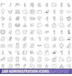 100 administration icons set outline style vector