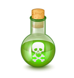 Realistic detailed glass bottle of green toxic vector