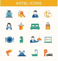 Hotel travel flat icons set vector image