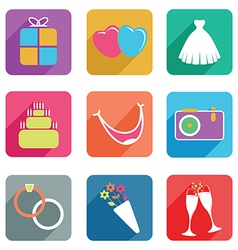 wedding flat icons vector image