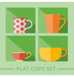 Flat color cups on shelf set vector