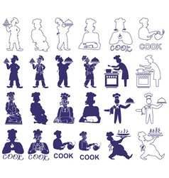Cook icons on white vector